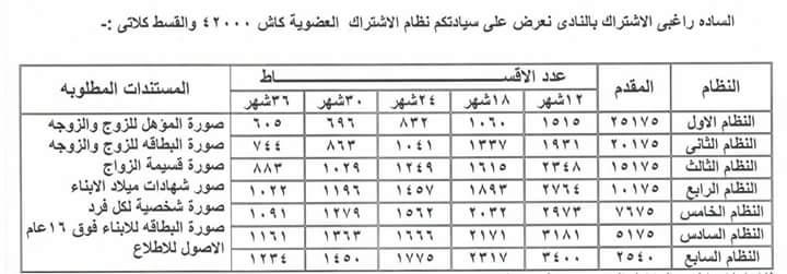 اسعار اشتراك نادى الرواد 2017