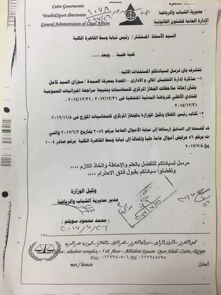 وزارة الشباب والرياضة تحيل مجلس النادى الاهلى لنيابة الاموال العامة