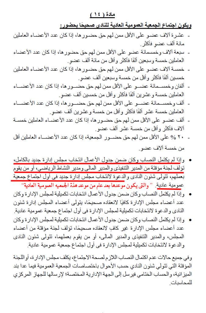 مادة 14 فى حالة عدم اكتمال الجمعية العمومية العادية لانتخابات مجلس ادارة النادى