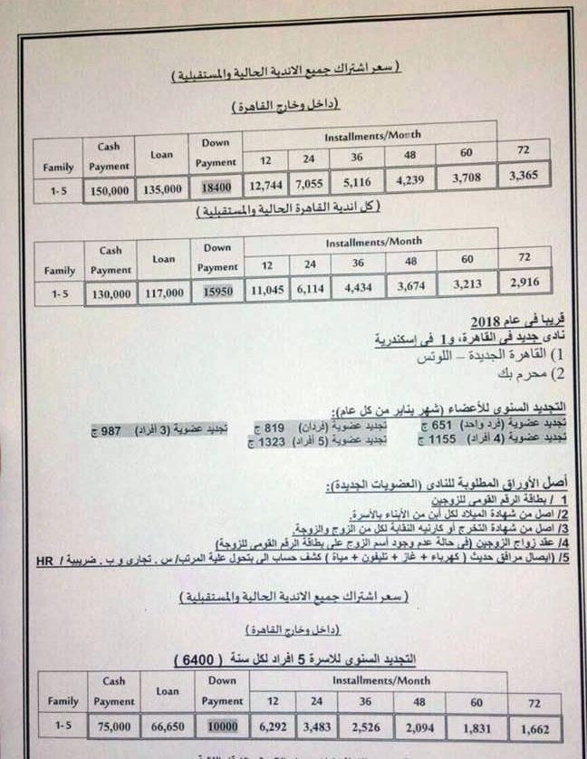 اسعار اشتراك نادى وادى دجلة 2018