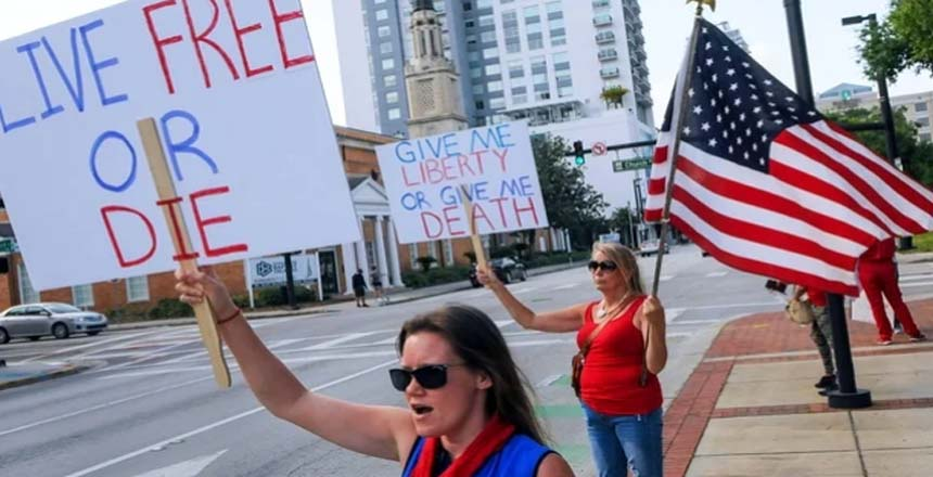 مظاهرات في أمريكا لإلغاء الحظر بسبب فيروس كورونا