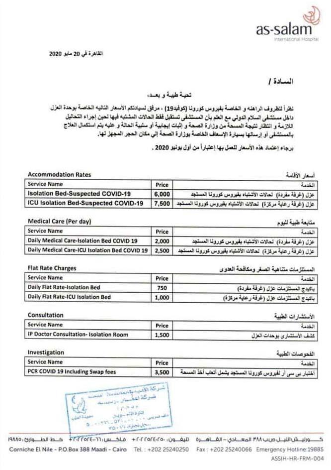قائمة تكلفة علاج مصابين فيروس كورونا في مستشفي السلام الدولي