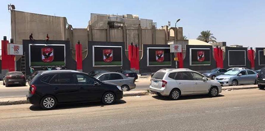 سور النادى الاهلي بمدينة نصر على شارع الطاقة بعد تطويره