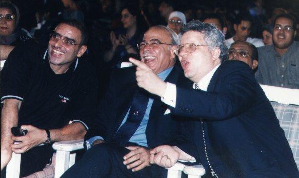 عزمي مجاهد مع كمال درويش رئيس نادى الزمالك الأسبق ومرتضى منصور نائب رئيس نادي الزمالك آنذاك