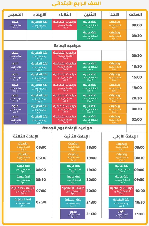 جدول مواعيد حصص الصف الرابع الإبتدائي على قناة مدرستنا