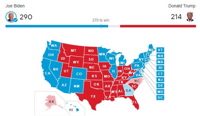نتيجة الانتخابات الامريكية 2020