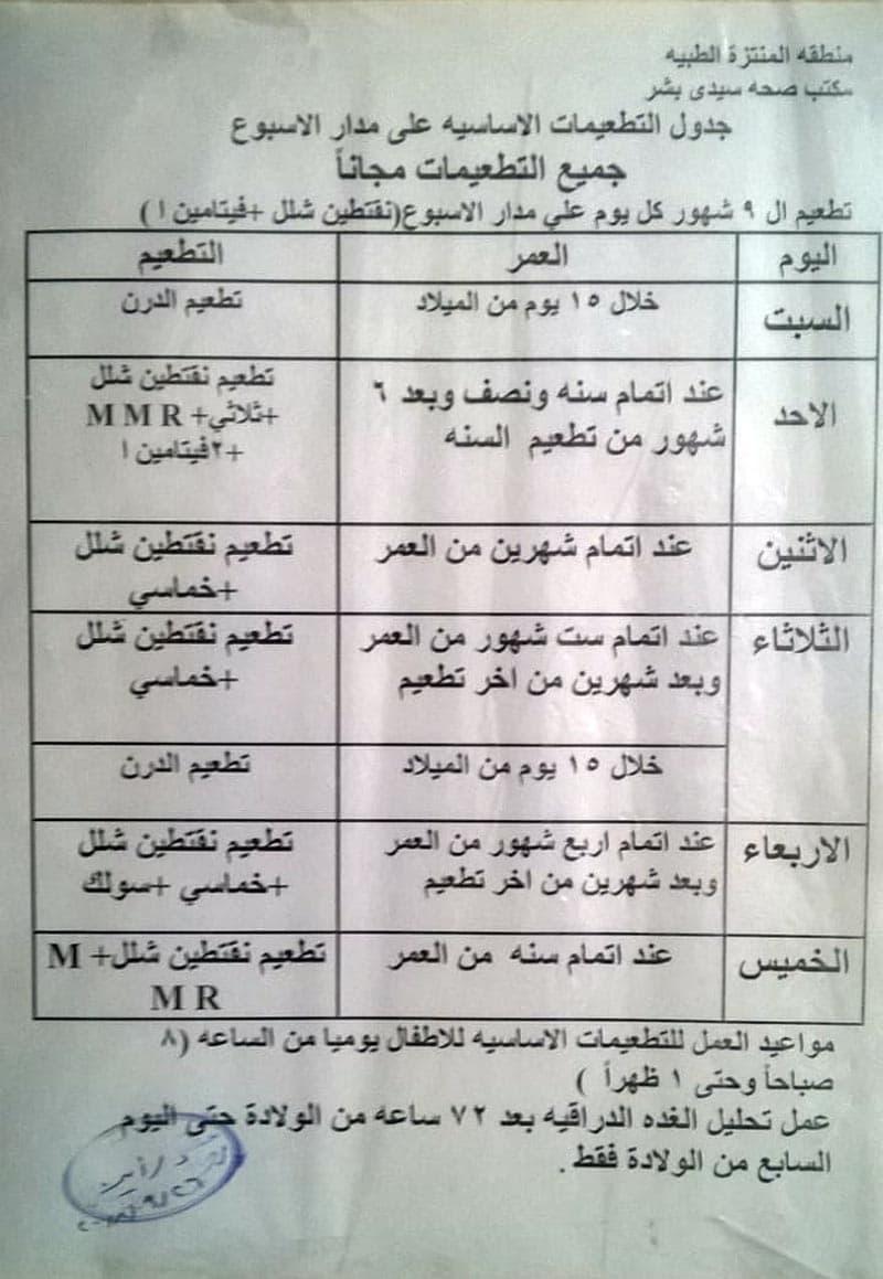 جدول التطعيمات لمنطقة المنتزة ومكتب صحة سيدى بشر