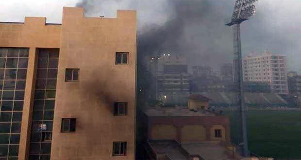 حريق صالة الجمباز في نادي طنطا