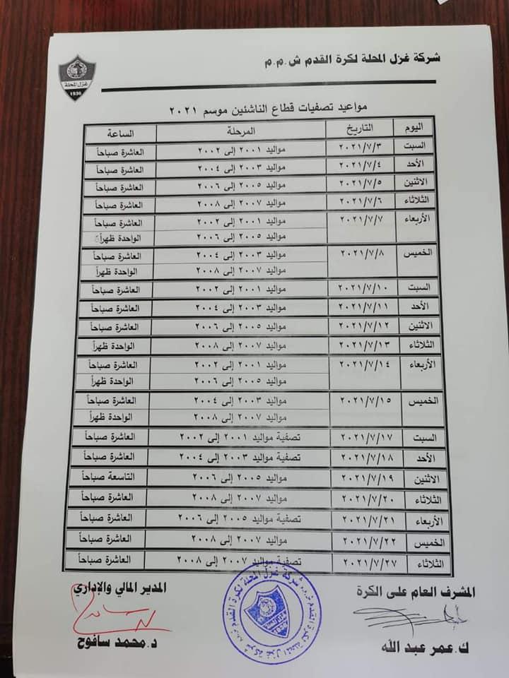 مواعيد تصفيات اختبارات الناشيئن بنادي غزل المحلة