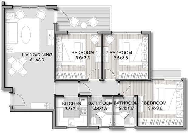 نموذج شقة 104 متر دور متكرر